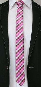 Ružová kockovaná kravata