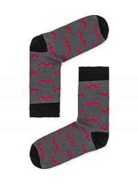 Šedé ponožky s fúzmi U20