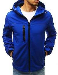 Softshellová modrá bunda s kapucňou