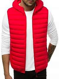 Štýlová červená vesta s kapucňou JS/LY36