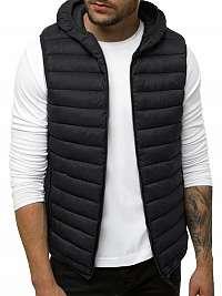 Štýlová čierna vesta s kapucňou JS/LY36