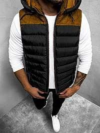 Štýlová čierna vesta s kapucňou O71Z