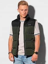 Štýlová khaki prešívaná vesta V36