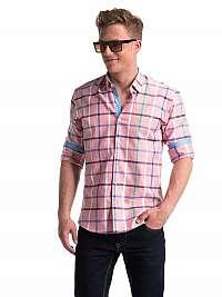 Štýlová kockovaná košeľa ružová k493