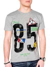 Trendové šedé pánske tričko s990