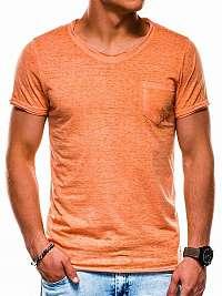 Trendy oranžové tričko s vreckom s1051