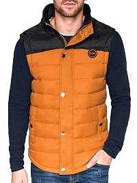 Trendy prešívaná vesta v26 kamelová