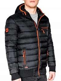 Zaujímavá čierna bunda na zimu c353