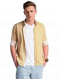 Zaujímavá oranžovo-zelená pánska košeľa k467