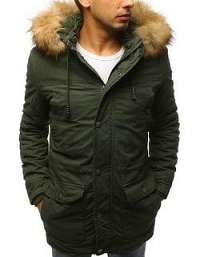 Zelená zimná bunda s kapucňou
