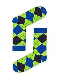 Zelené kárované pánske ponožky U18
