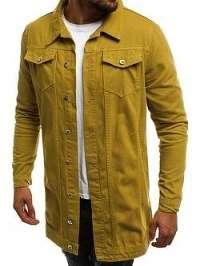 Žltá predĺžená jeansová bunda OT/2038K/8 - XL