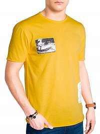 Žlté štýlové pánske tričko s983