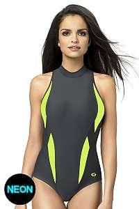 GWINNER Dámske jednodielne športové plavky Aquasport II. sivo-zelená