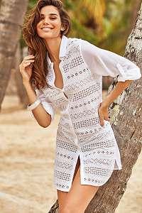 Iconique Plážové košeľové šaty Romina biela XXL