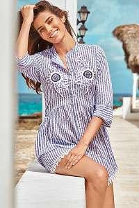 Iconique Plážové košeľové šaty Sandra modro-biela M