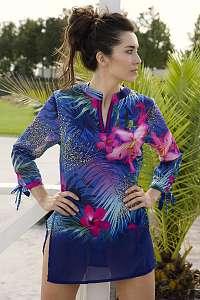 Lentiggini a Mila Swimwear Dámske plážové šaty Kristin modrá L