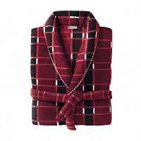 Blancheporte Domáci kabát z polar fleecu kocka bordó 107/116 (XL)