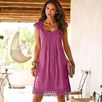 Blancheporte Šaty s macramé purpurová