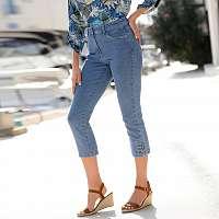 Blancheporte 3/4 džínsy s gombíkmi zapratá modrá