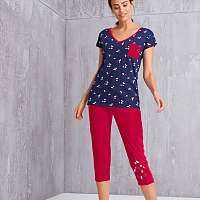 Blancheporte 3/4 pyžamové nohavice s motívom hviezdičiek červená