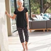 Blancheporte 3/4 pyžamové nohavice s potlačou hviezdičiek čierna