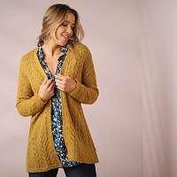 Blancheporte Ažúrový sveter s gombíkmi medová 58