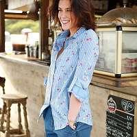 Blancheporte Bavlnená košeľa s prúžkami a kvietkami prúžky modrá