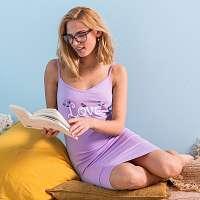 Blancheporte Bavlnená nočná košeľa s potlačou love lila