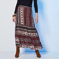 Blancheporte Dlhá boho sukňa s potlačou karamelová/khaki