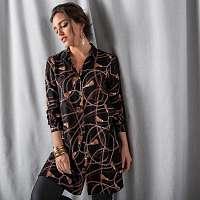 Blancheporte Dlhá pruhovaná košeľa čierna/karamelová