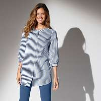 Blancheporte Dlhá pruhovaná košeľa modrá/biela