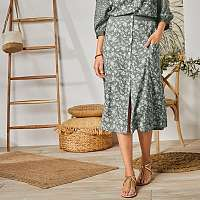 Blancheporte Dlhá sukňa s gombíkmi a potlačou khaki/biela