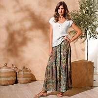 Blancheporte Dlhá sukňa s potlačou khaki/paprika