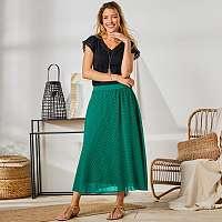 Blancheporte Dlhá sukňa s výšivkou zelená
