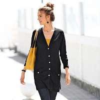 Blancheporte Dlhý sveter na gombíky čierna