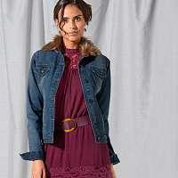 Blancheporte Džínsová bunda, imitácia kožušiny modrá
