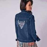 Blancheporte Džínsová bunda s výšivkou denim