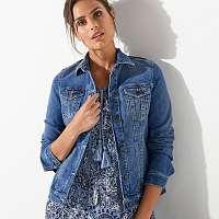 Blancheporte Džínsová bunda s výšivkou zapratá modrá