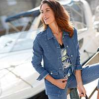 Blancheporte Džínsová bunda zapratá modrá