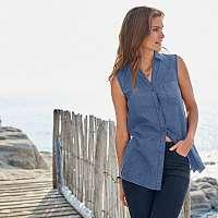 Blancheporte Džínsová košeľa bez rukávov, ekologické spracovanie modrá