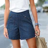 Blancheporte Džínsové šortky s rozšírenými nohavicami a gombíkmi modrá