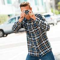 Blancheporte Extra dlhá flanelová košeľa s kockovaným vzorom modrá/žltá