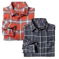 Blancheporte Flanelová kockovaná košeľa, 2 ks antracitová/oranžová