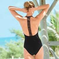 Blancheporte Jednodielne jednofarebné plavky Casalta, macramé chrbát čierna