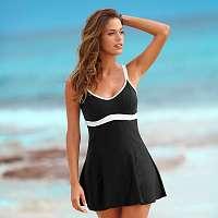 Blancheporte Jednodielne plavky so sukničkou fialová/tyrkysová