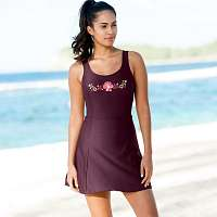 Blancheporte Jednodielne plavky so sukničkou slivková