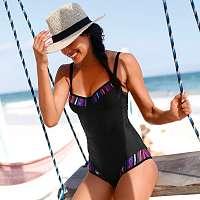 Blancheporte Jednodielne zoštíhľujúce plavky, s kosticami čierna/potlač, koš.E