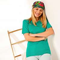 Blancheporte Jednofarebný pulóver s krátkymi rukávmi zelená
