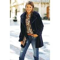 Blancheporte Kabát s imitáciou kožušiny modrá